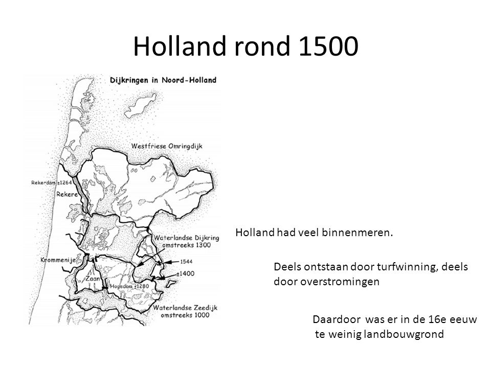 Holland rond 1500 Holland had veel binnenmeren.