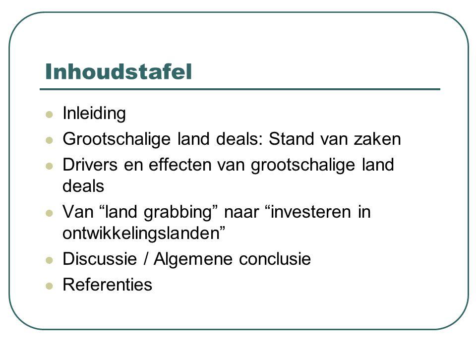 """Inhoudstafel Inleiding Grootschalige land deals: Stand van zaken Drivers en effecten van grootschalige land deals Van """"land grabbing"""" naar """"investeren"""