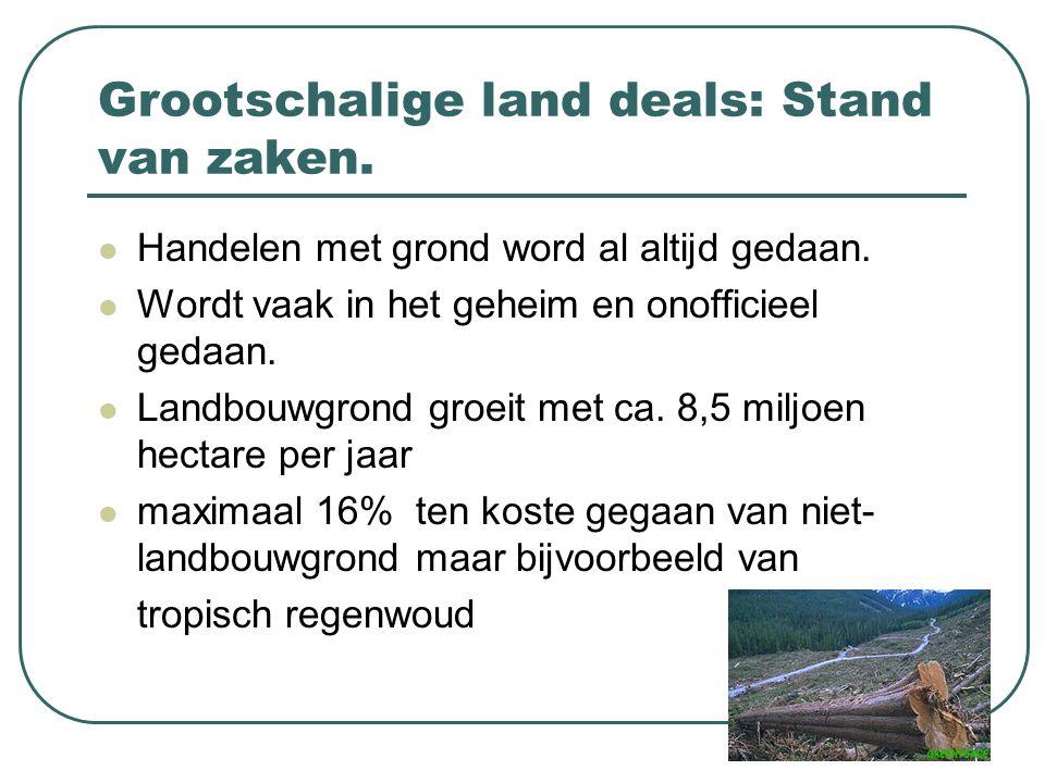 Grootschalige land deals: Stand van zaken. Handelen met grond word al altijd gedaan. Wordt vaak in het geheim en onofficieel gedaan. Landbouwgrond gro