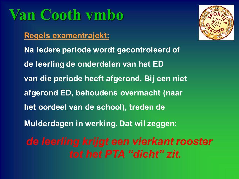 Van Cooth vmbo Tweejarig examentrajekt: Bestaat uit: - schoolexamen - centraal schriftelijk praktisch examen - centraal schriftelijk examen voor KB & GT - beeldschermexamen voor BB