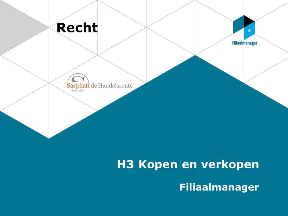 Recht H3 Kopen en verkopen Filiaalmanager