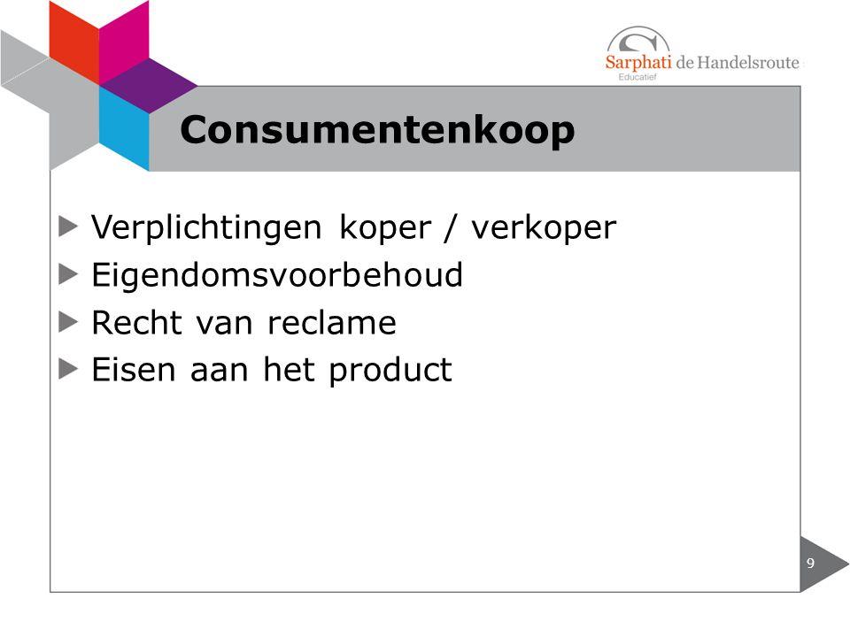 Verplichtingen koper / verkoper Eigendomsvoorbehoud Recht van reclame Eisen aan het product 9 Consumentenkoop