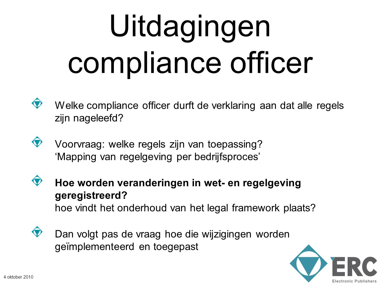 4 oktober 2010 Uitdagingen compliance officer Welke compliance officer durft de verklaring aan dat alle regels zijn nageleefd? Voorvraag: welke regels