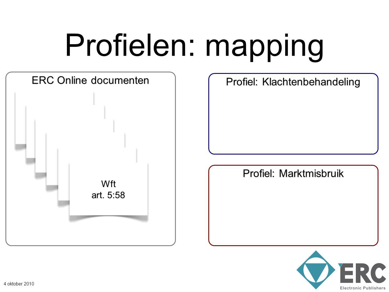 4 oktober 2010 Profielen: mapping Wft artikel 4:17 ERC Online documenten Profiel: Marktmisbruik Profiel: Klachtenbehandeling EG 2272/2003 art. 4 MiFID