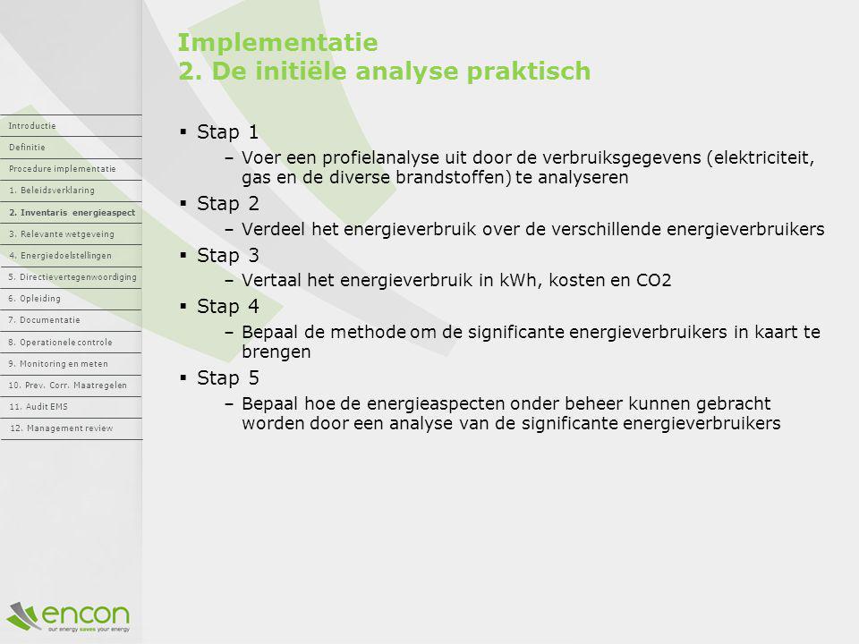 Implementatie 2. De initiële analyse praktisch  Stap 1 –Voer een profielanalyse uit door de verbruiksgegevens (elektriciteit, gas en de diverse brand