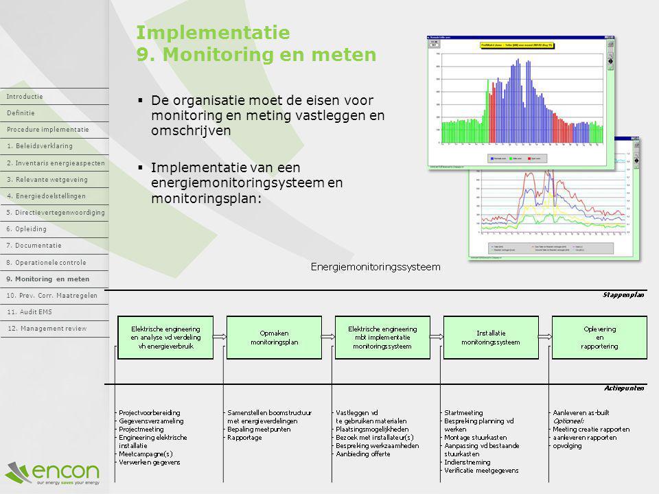 Implementatie 9. Monitoring en meten  De organisatie moet de eisen voor monitoring en meting vastleggen en omschrijven  Implementatie van een energi