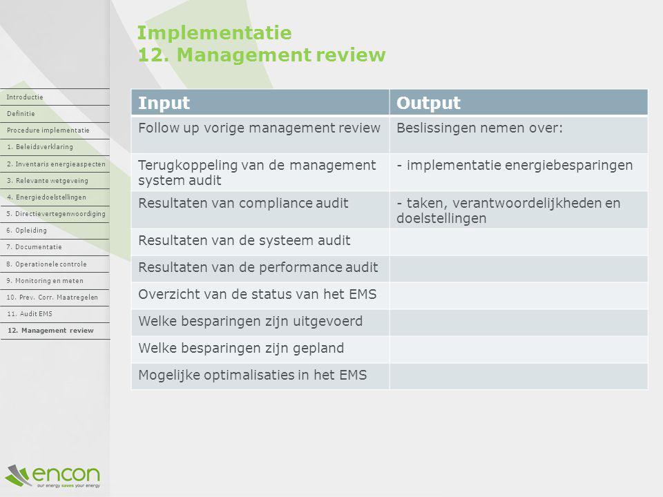 Implementatie 12. Management review InputOutput Follow up vorige management reviewBeslissingen nemen over: Terugkoppeling van de management system aud