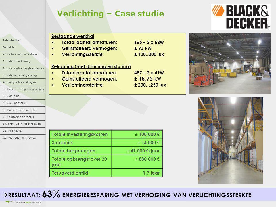 Verlichting – Case studie Totale investeringskosten± 100.000 € Subsidies± 14.000 € Totale besparingen± 49.000 €/jaar Totale opbrengst over 20 jaar ± 8