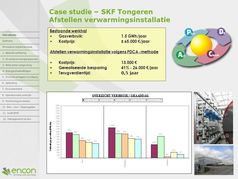 Case studie – SKF Tongeren Afstellen verwarmingsinstallatie Bestaande werkhal Gasverbruik: 1.5 GWh/jaar Kostprijs: ± 65.000 €/jaar Afstellen verwarmin