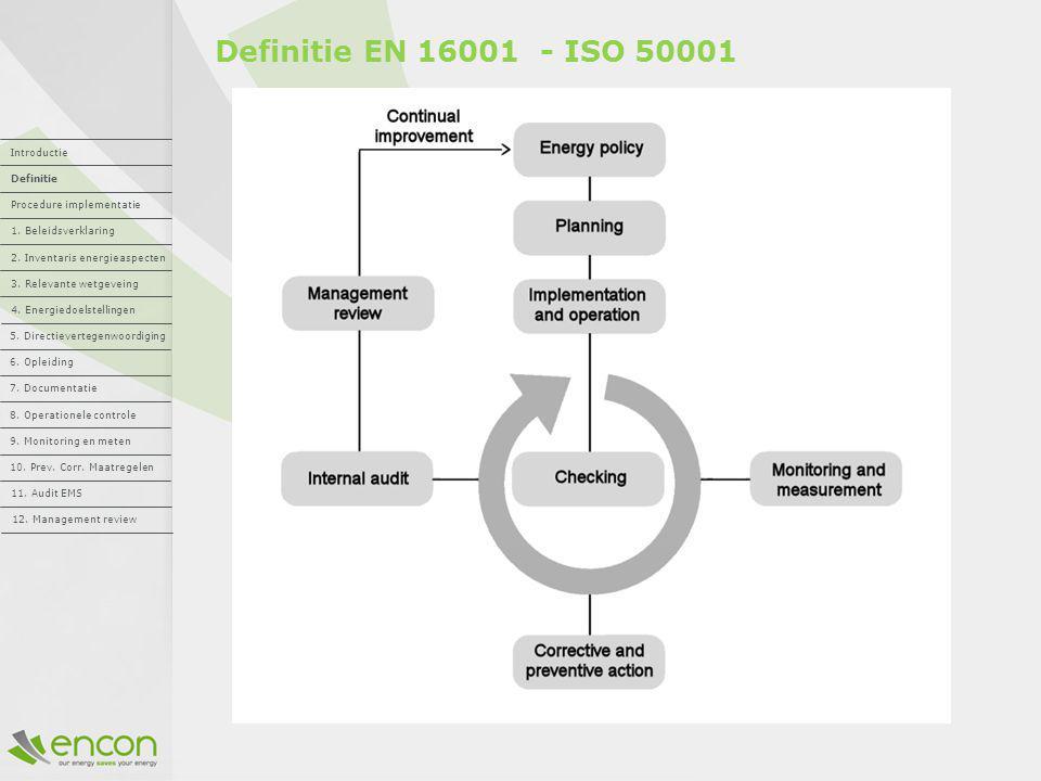Definitie EN 16001 - ISO 50001 Introductie Definitie Procedure implementatie 1. Beleidsverklaring 2. Inventaris energieaspecten 3. Relevante wetgevein