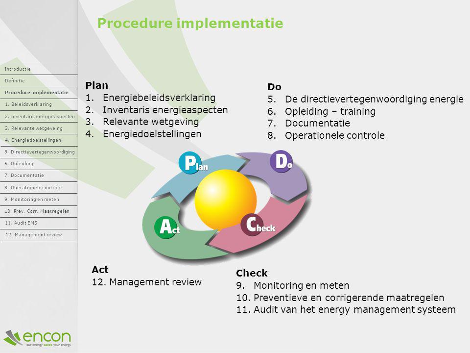 Procedure implementatie Plan 1.Energiebeleidsverklaring 2.Inventaris energieaspecten 3.Relevante wetgeving 4.Energiedoelstellingen Do 5.De directiever