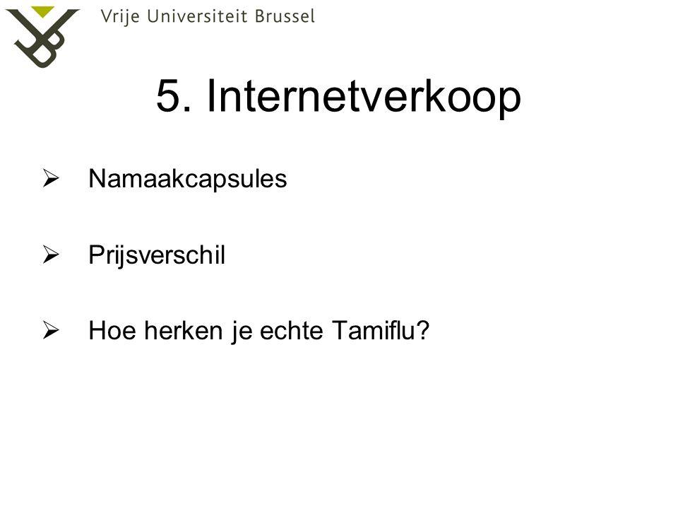 5. Internetverkoop  Namaakcapsules  Prijsverschil  Hoe herken je echte Tamiflu?