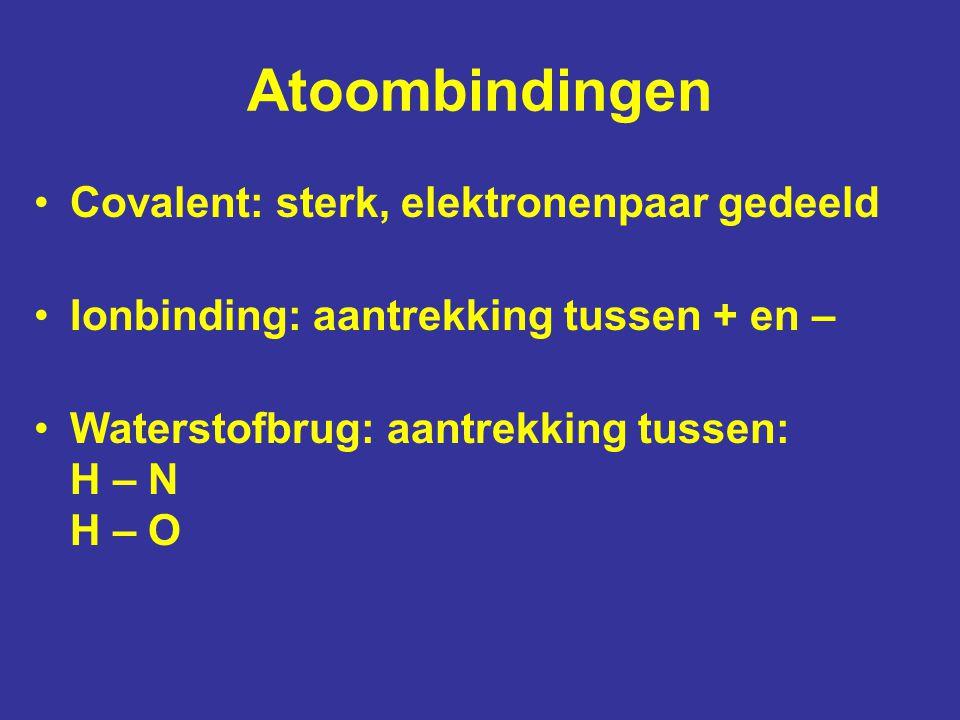 Atoombindingen Covalent: sterk, elektronenpaar gedeeld Ionbinding: aantrekking tussen + en – Waterstofbrug: aantrekking tussen: H – N H – O