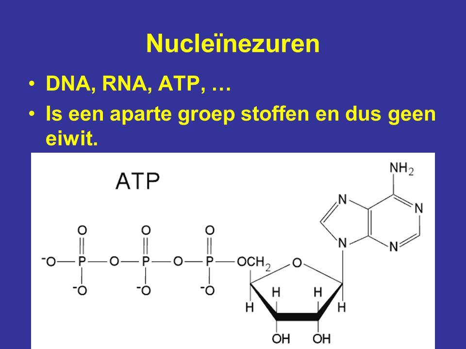 Nucleïnezuren DNA, RNA, ATP, … Is een aparte groep stoffen en dus geen eiwit.