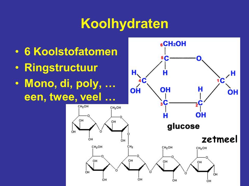 Koolhydraten 6 Koolstofatomen Ringstructuur Mono, di, poly, … een, twee, veel … zetmeel