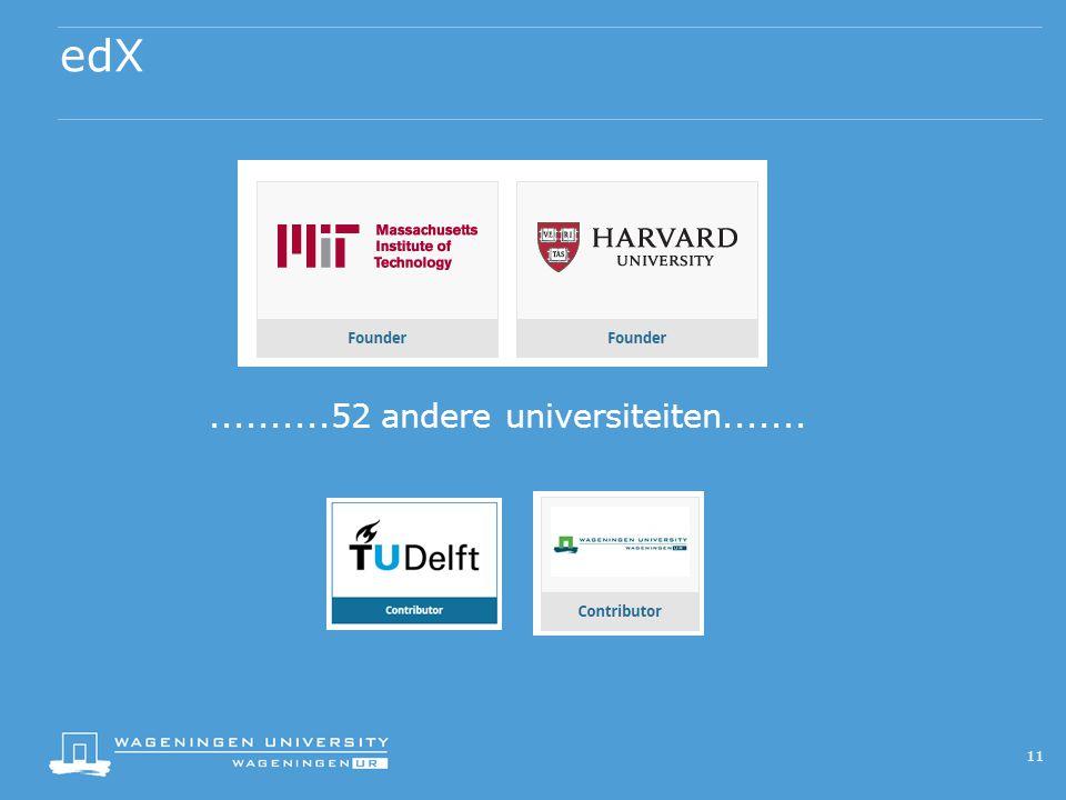 edX..........52 andere universiteiten....... 11