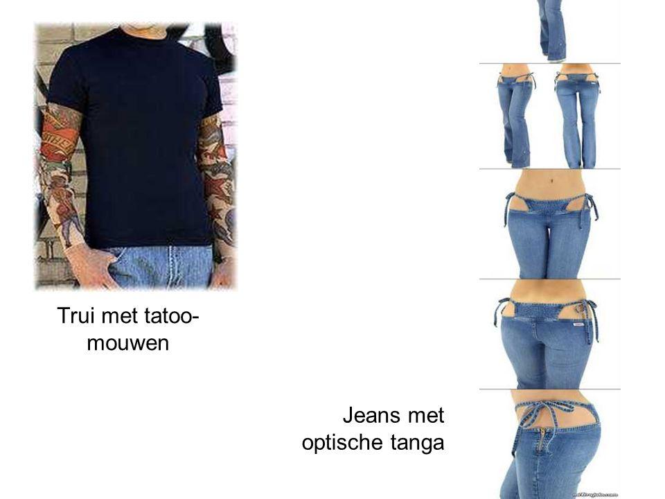 Trui met tatoo- mouwen Jeans met optische tanga