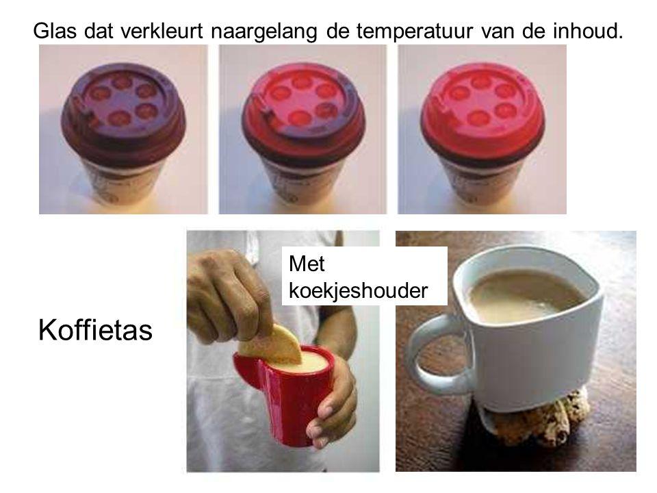 Koffietas Glas dat verkleurt naargelang de temperatuur van de inhoud. Met koekjeshouder