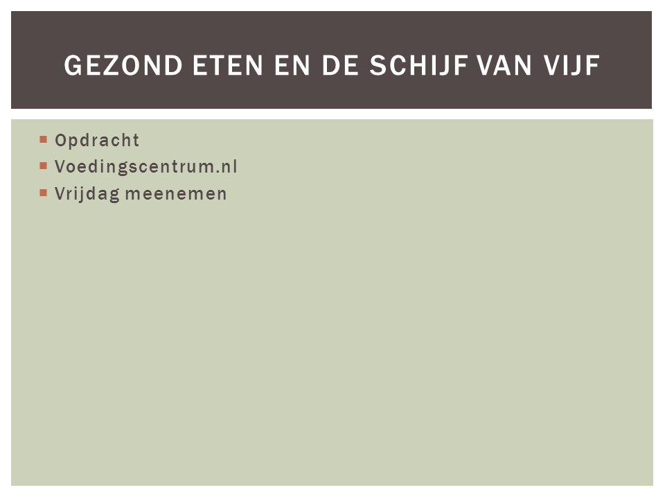  Opdracht  Voedingscentrum.nl  Vrijdag meenemen GEZOND ETEN EN DE SCHIJF VAN VIJF