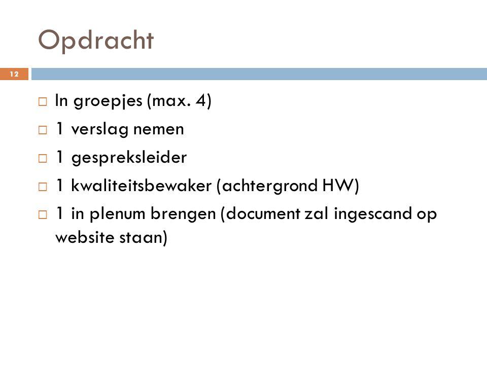 Opdracht 12  In groepjes (max. 4)  1 verslag nemen  1 gespreksleider  1 kwaliteitsbewaker (achtergrond HW)  1 in plenum brengen (document zal ing