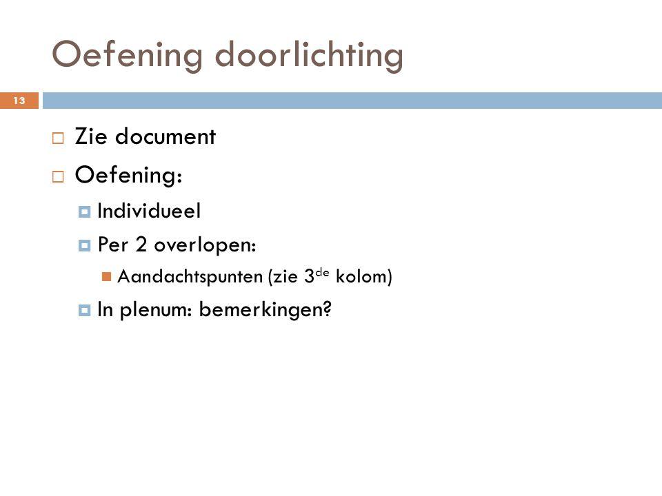 Oefening doorlichting 13  Zie document  Oefening:  Individueel  Per 2 overlopen: Aandachtspunten (zie 3 de kolom)  In plenum: bemerkingen?
