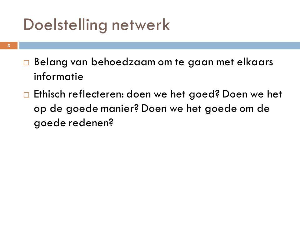 Doelstelling netwerk 3  Belang van behoedzaam om te gaan met elkaars informatie  Ethisch reflecteren: doen we het goed? Doen we het op de goede mani