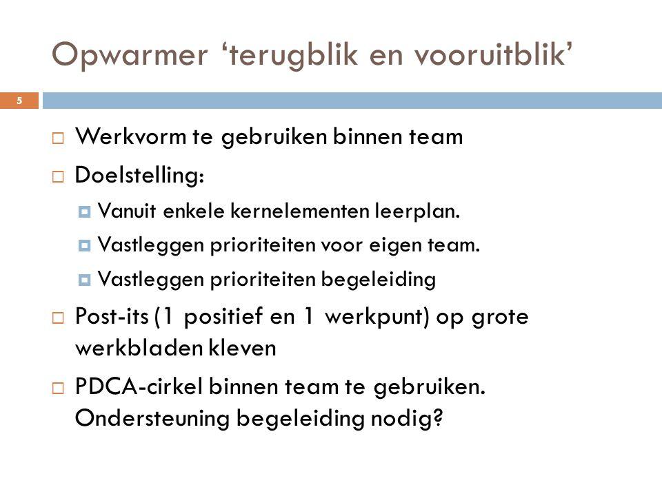 Opwarmer 'terugblik en vooruitblik' 5  Werkvorm te gebruiken binnen team  Doelstelling:  Vanuit enkele kernelementen leerplan.  Vastleggen priorit