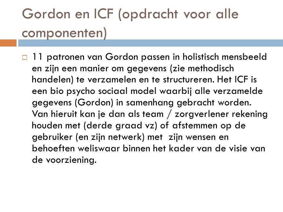 Gordon en ICF (opdracht voor alle componenten)  11 patronen van Gordon passen in holistisch mensbeeld en zijn een manier om gegevens (zie methodisch