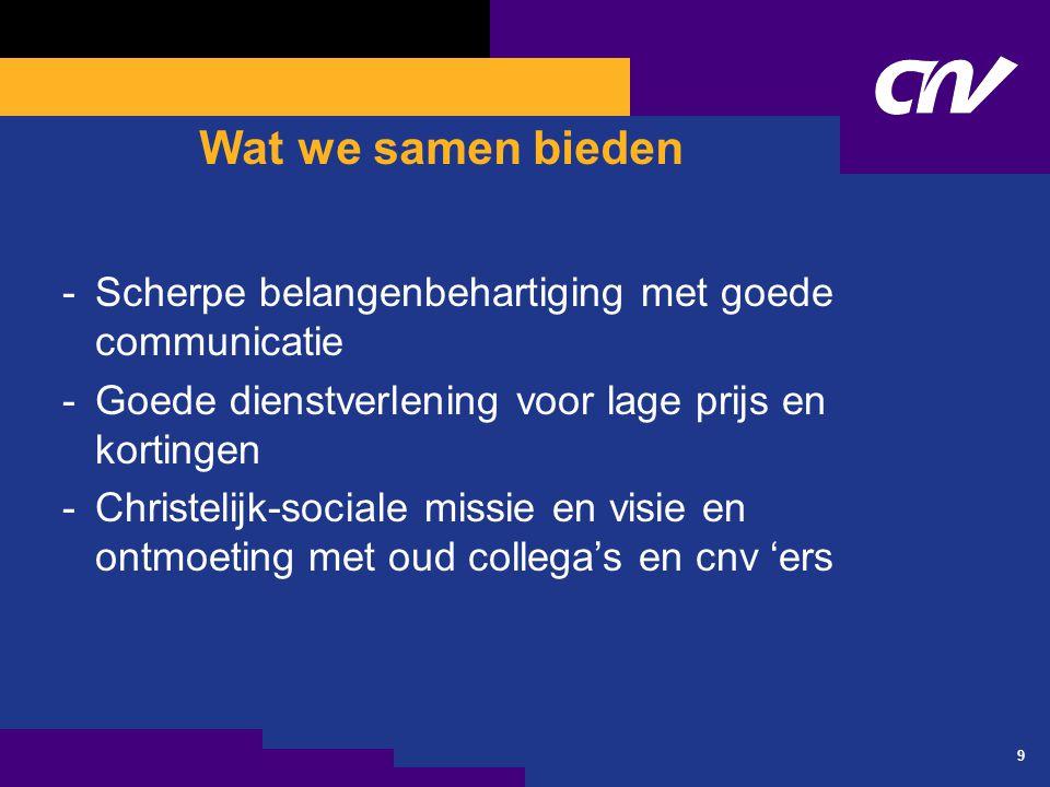 9 Wat we samen bieden -Scherpe belangenbehartiging met goede communicatie -Goede dienstverlening voor lage prijs en kortingen -Christelijk-sociale mis