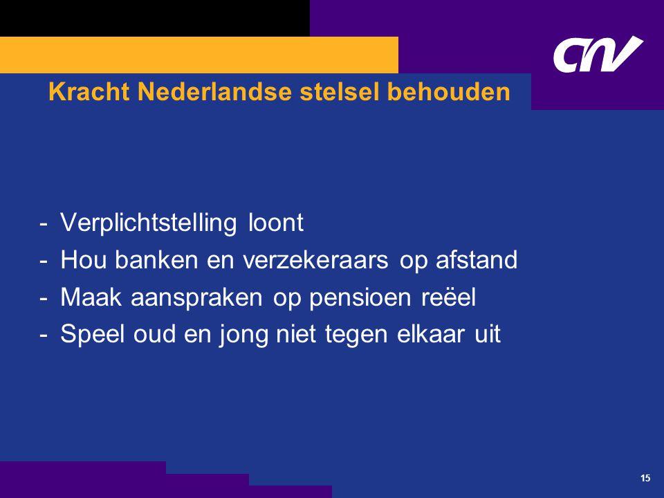 15 Kracht Nederlandse stelsel behouden -Verplichtstelling loont -Hou banken en verzekeraars op afstand -Maak aanspraken op pensioen reëel -Speel oud en jong niet tegen elkaar uit