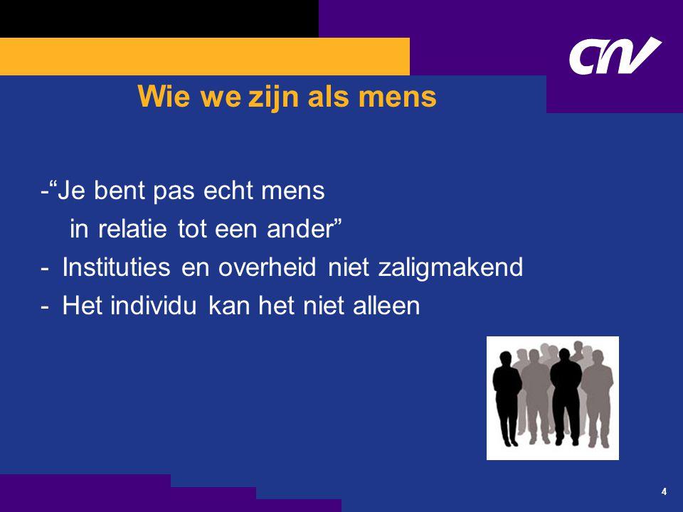 4 Wie we zijn als mens - Je bent pas echt mens in relatie tot een ander -Instituties en overheid niet zaligmakend -Het individu kan het niet alleen