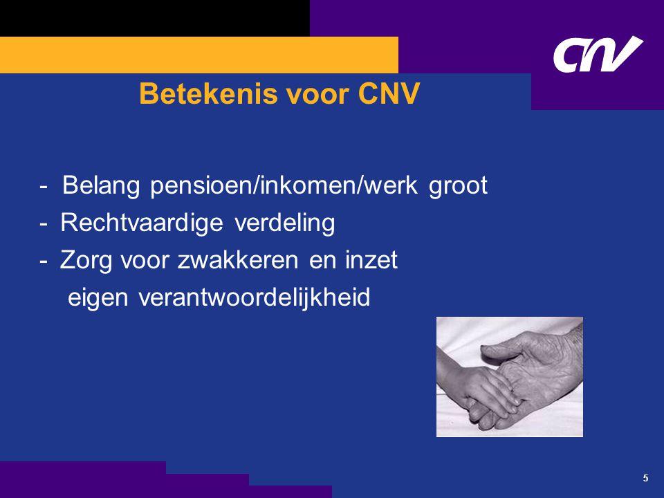 5 Betekenis voor CNV - Belang pensioen/inkomen/werk groot -Rechtvaardige verdeling -Zorg voor zwakkeren en inzet eigen verantwoordelijkheid