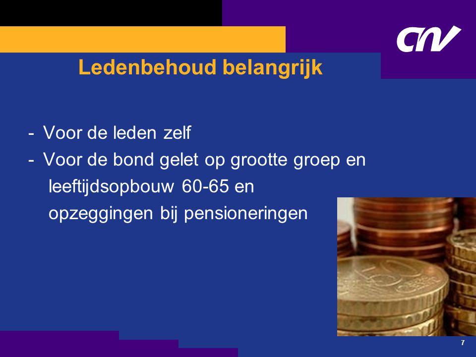 7 Ledenbehoud belangrijk -Voor de leden zelf -Voor de bond gelet op grootte groep en leeftijdsopbouw 60-65 en opzeggingen bij pensioneringen