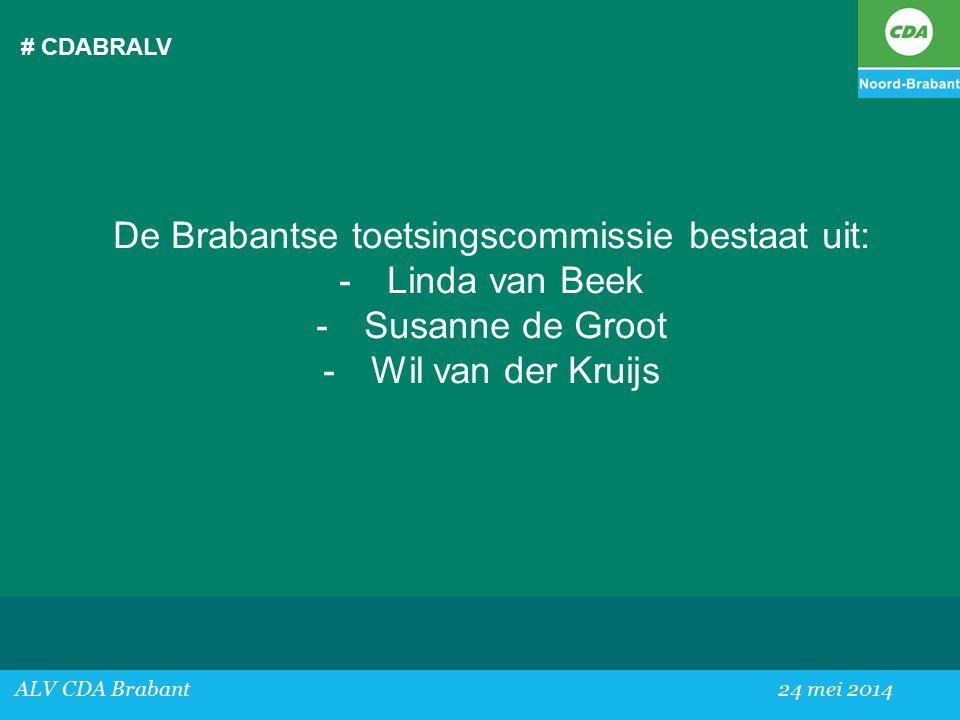 # CDABRALV ALV CDA Brabant24 mei 2014 De Brabantse toetsingscommissie bestaat uit: -Linda van Beek -Susanne de Groot -Wil van der Kruijs