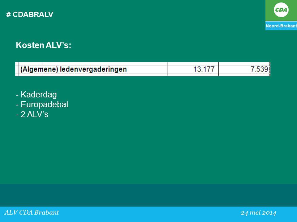 # CDABRALV ALV CDA Brabant24 mei 2014 Kosten ALV's: - Kaderdag - Europadebat - 2 ALV's