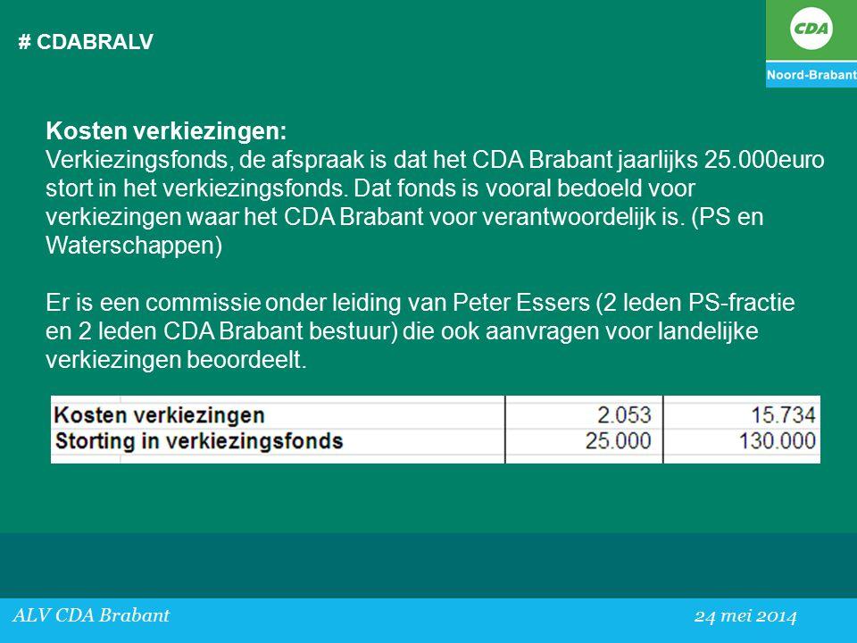 # CDABRALV ALV CDA Brabant24 mei 2014 Kosten verkiezingen: Verkiezingsfonds, de afspraak is dat het CDA Brabant jaarlijks 25.000euro stort in het verkiezingsfonds.