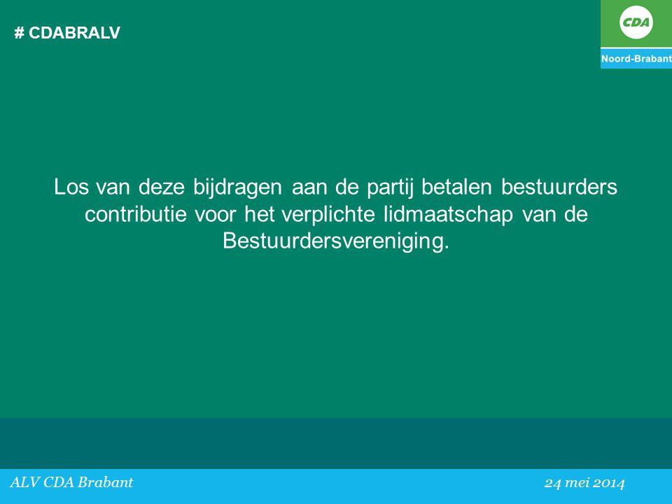 # CDABRALV ALV CDA Brabant24 mei 2014 Los van deze bijdragen aan de partij betalen bestuurders contributie voor het verplichte lidmaatschap van de Bestuurdersvereniging.
