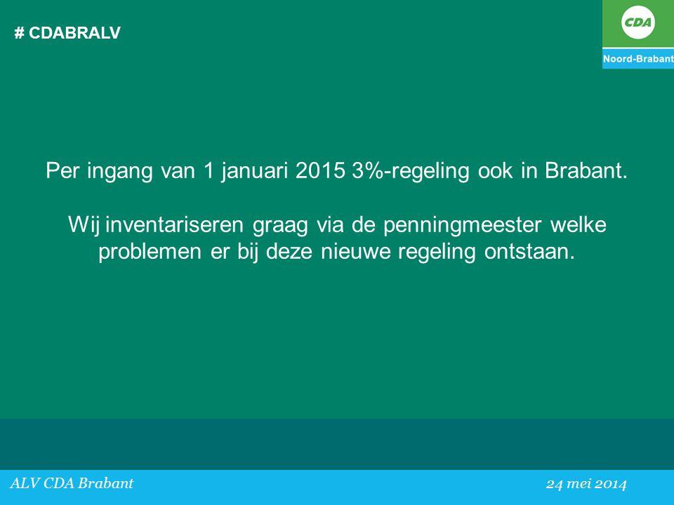 # CDABRALV ALV CDA Brabant24 mei 2014 Per ingang van 1 januari 2015 3%-regeling ook in Brabant.