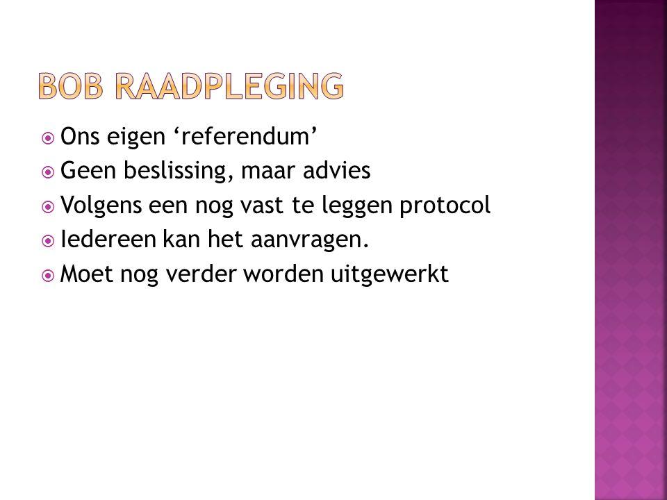 Ons eigen 'referendum'  Geen beslissing, maar advies  Volgens een nog vast te leggen protocol  Iedereen kan het aanvragen.  Moet nog verder word