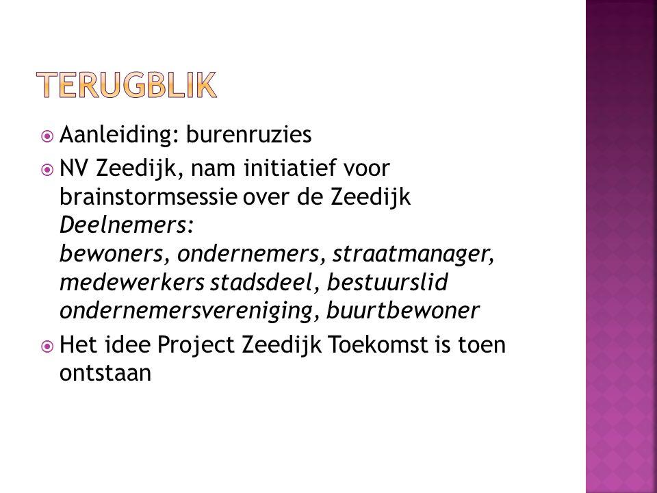 Aanleiding: burenruzies  NV Zeedijk, nam initiatief voor brainstormsessie over de Zeedijk Deelnemers: bewoners, ondernemers, straatmanager, medewer