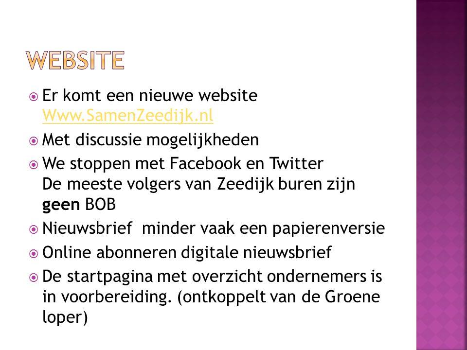  Er komt een nieuwe website Www.SamenZeedijk.nl Www.SamenZeedijk.nl  Met discussie mogelijkheden  We stoppen met Facebook en Twitter De meeste volg