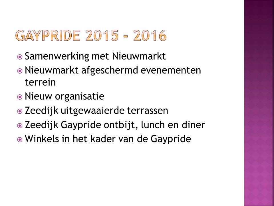  Samenwerking met Nieuwmarkt  Nieuwmarkt afgeschermd evenementen terrein  Nieuw organisatie  Zeedijk uitgewaaierde terrassen  Zeedijk Gaypride on