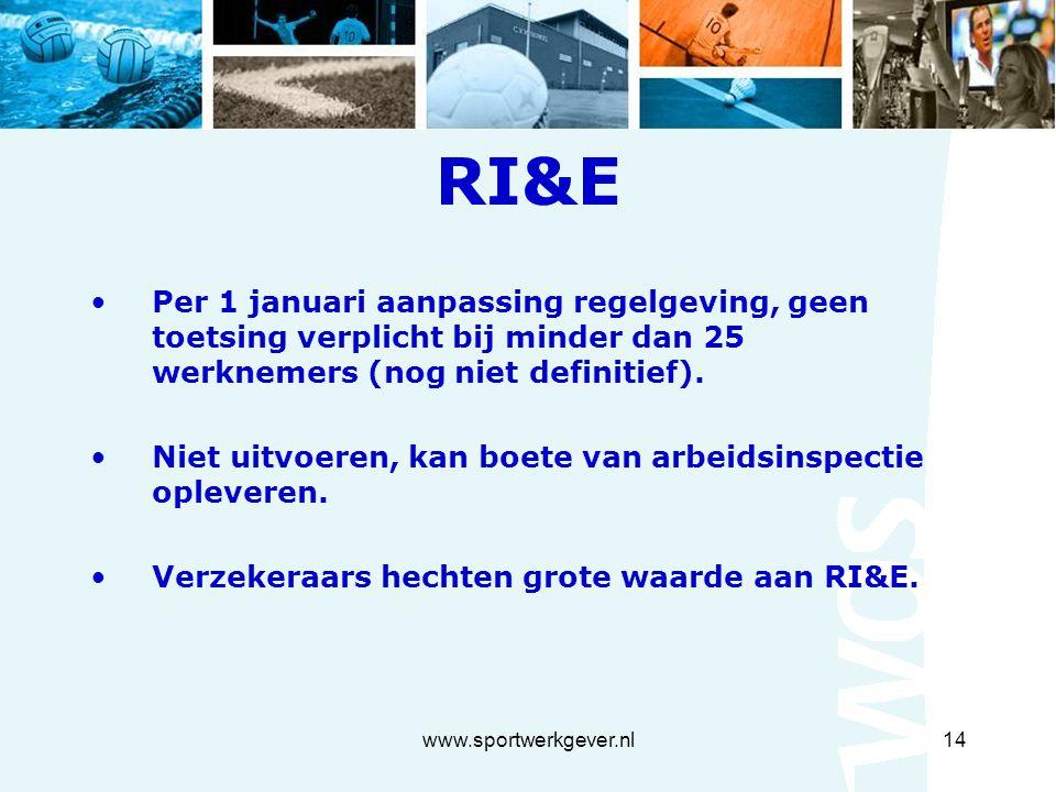 www.sportwerkgever.nl14 RI&E Per 1 januari aanpassing regelgeving, geen toetsing verplicht bij minder dan 25 werknemers (nog niet definitief).