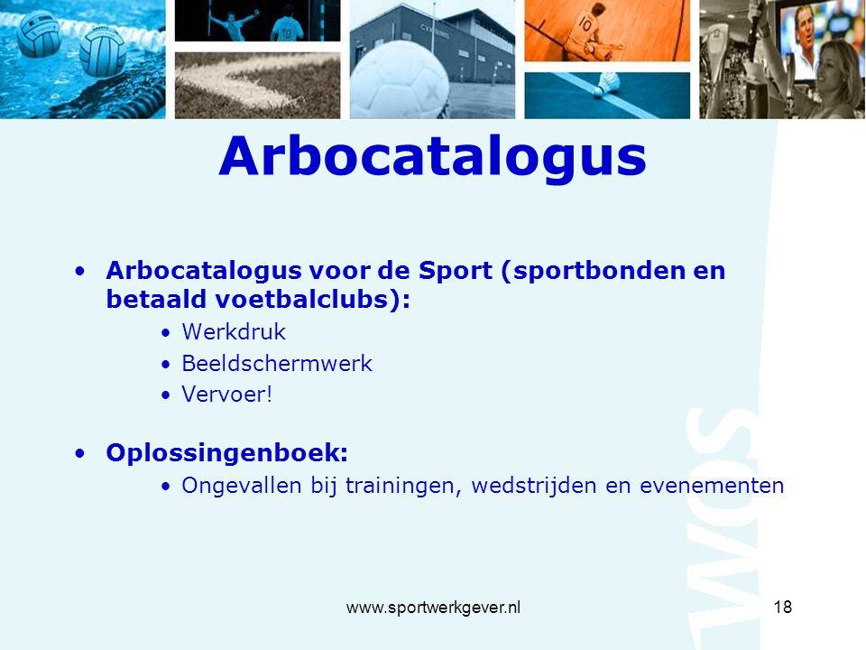 www.sportwerkgever.nl18 Arbocatalogus Arbocatalogus voor de Sport (sportbonden en betaald voetbalclubs): Werkdruk Beeldschermwerk Vervoer.