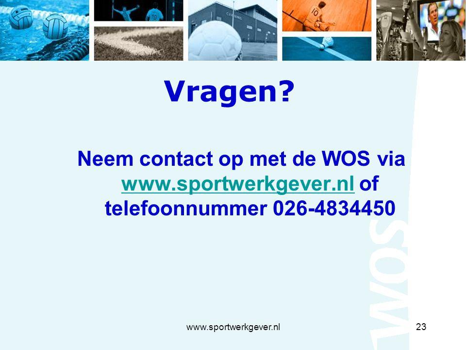 www.sportwerkgever.nl23 Vragen.