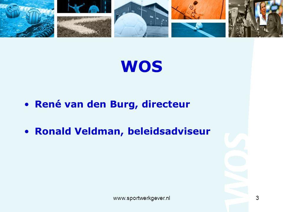 www.sportwerkgever.nl3 WOS René van den Burg, directeur Ronald Veldman, beleidsadviseur