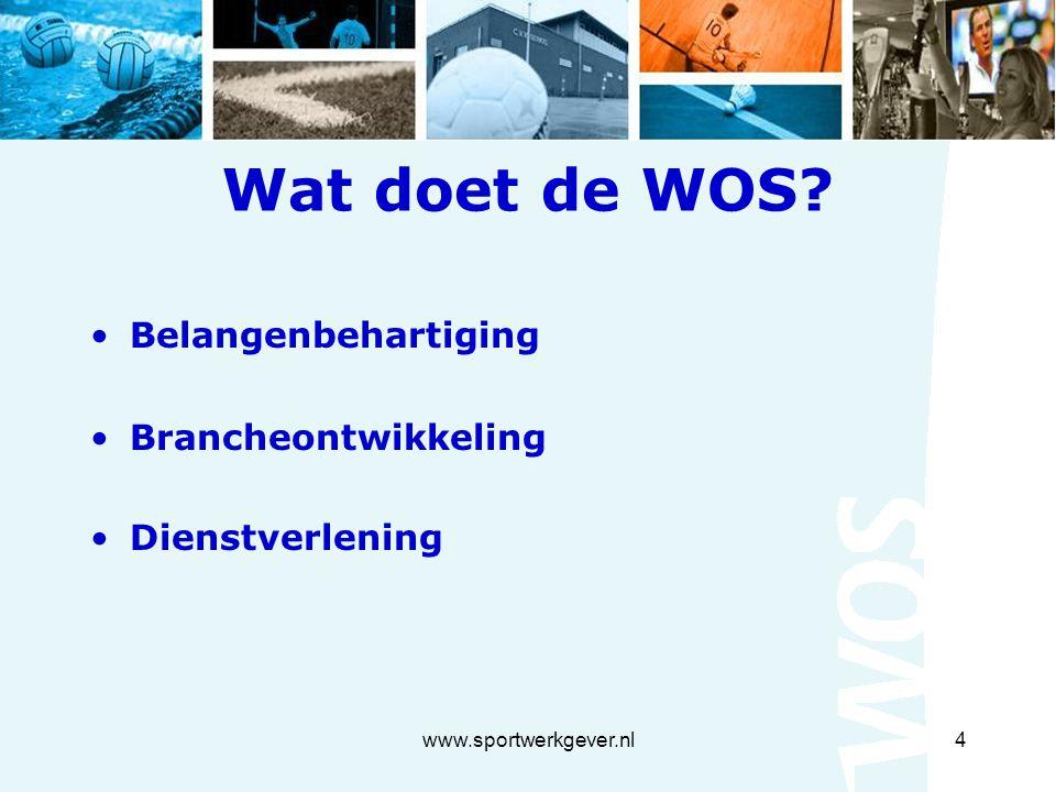 www.sportwerkgever.nl4 Wat doet de WOS? Belangenbehartiging Brancheontwikkeling Dienstverlening