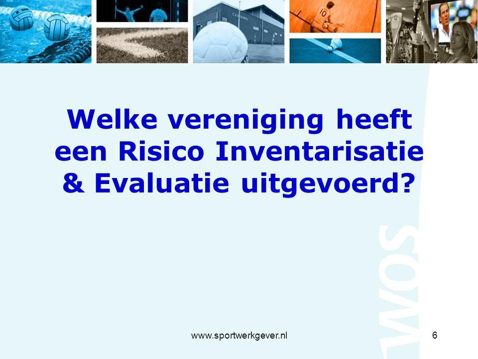 www.sportwerkgever.nl6 Welke vereniging heeft een Risico Inventarisatie & Evaluatie uitgevoerd