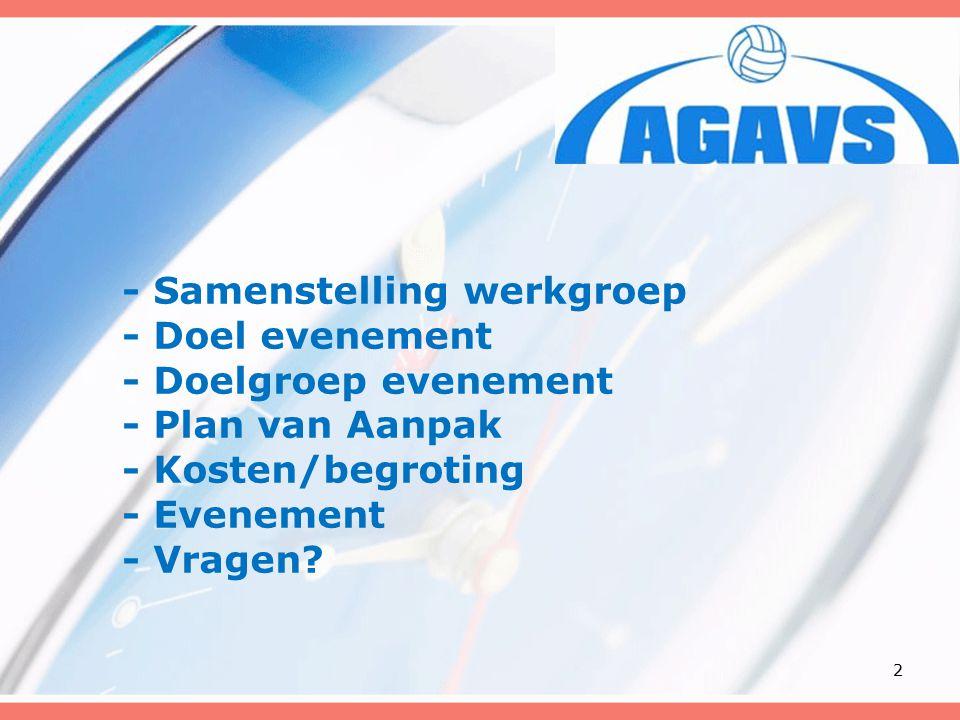 - Samenstelling werkgroep - Doel evenement - Doelgroep evenement - Plan van Aanpak - Kosten/begroting - Evenement - Vragen.