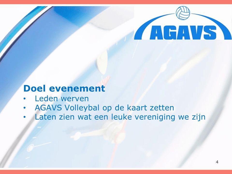 Doel evenement Leden werven AGAVS Volleybal op de kaart zetten Laten zien wat een leuke vereniging we zijn 4